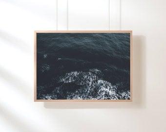 Ocean Printable, Ocean Waves Print, Ocean Art Print, Blue Water Wall Decor, Beach Art, Printable Poster, Digital Art Print, Digital Download