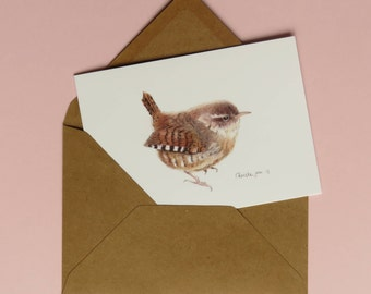 Winter Wren, print of crayon drawing, double card with envelope