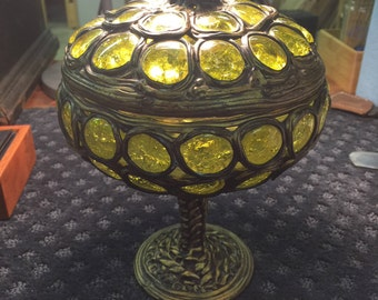 Art Nouveau glass and metal Compote - Austrian / German