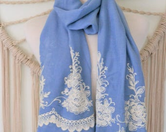 Spanish Princess - Embroidered Cotton Scarf, Embroidered Wrap, Shawl, Boho, Womens Scarves, Embroidered Clothing, Gifts for her