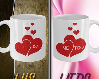 His And Hers Mugs, Bridal Mugs, His And Her Mugs, Wedding Mugs, Wedding Mugs, I Do Me Too Mugs, Engagement Mugs Mugs