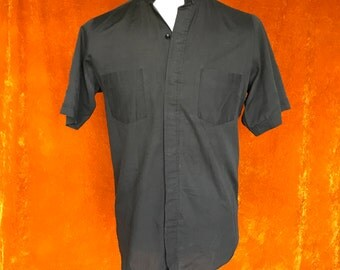 Vintage 1970s, Men's Black Button-Up, Short Sleeve Shirt