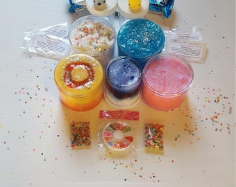 Wow! 40 oz of slime! SlimeBox Scented Variety Slimes 2 Squishy's, 3 Glitter and Gummy Packs, 6 oz Mystery~ Priority Shipping! #slimebox