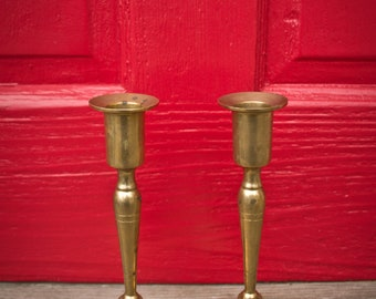 """Pair of vintage 7.5"""" brass candle holders - Set of 2 Solid Brass Candleholders - 7.5 Inch Candlesticks - 70s - 60s - 80s"""