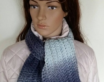 Knit scarf women, Handmade knit scarf, Blue grey scarf, Gift for women, winter accessory