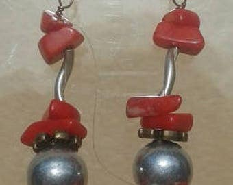 Coral ettubes twisted Silver earrings