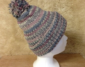 Bobble hat - Beanie hat in multi-coloured pure wool.