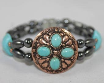 Copper Tone & Turquoise Concho High Quality Magnetic Bracelet