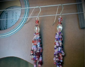 Glass bead and Crystal Earrings with .925 Sterling Silver