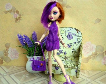 Monster High Dresses Doll Fashion mini purple dress GalactikaMagicThread: Ever After High and Monster High fashion doll crochet