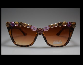 One Of A Kind, Brown Leopard, Sunglasses, Assorted Bling, Antique,