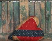 Heart Pillow, Antique Quilt, Rustic Farmhouse Decor, Primitive Heart, Americana Valentine, Zakka Style, Red White Blue