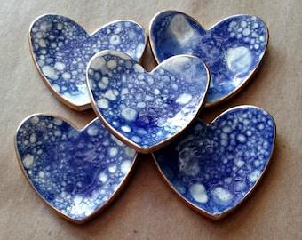 FIVE Ceramic Heart ring bowls itty bittys Baby shower wedding shower