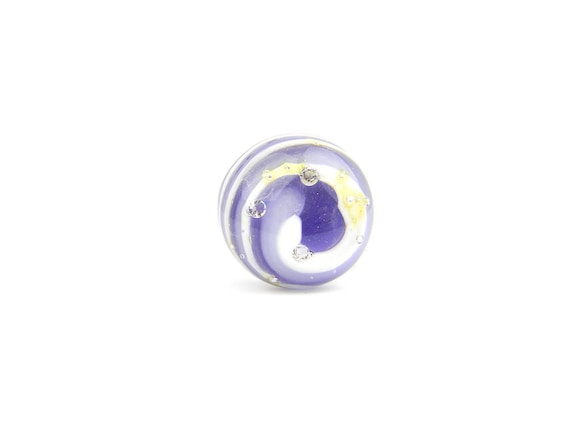 Art Glass Ring - Purple Candy Art Glass Bead Sterling Silver Ring - Classic Collection