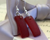 Red Sea Glass earrings - Cultured sea glass with Sterling Silver