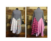 Plus Size Lagenlook Womens Tunic Top or Dress Upcycled Patchwork Style Gray and Pinks Shabby Boho Chic Hippie Clothing