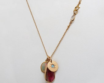 Charm necklace gemstones and opal, tourmaline