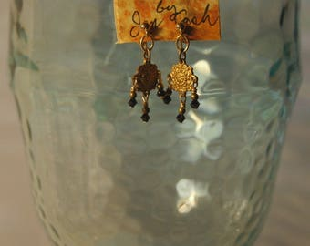 Black Swarovski crystal and solid brass dangles with 14k gold filled post earrings for pierced ears