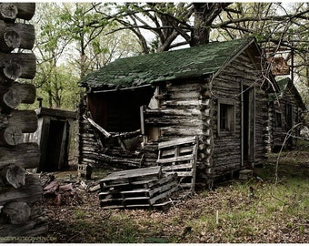 Collapsing Log Cabin Photo - Abandoned Building Photography - Dark Documentary Photo of Route 66 John's Modern Cabins - Menacing Wall Art