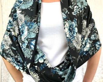Blue Floral Double-Decker Infinity Scarf by So-Fine