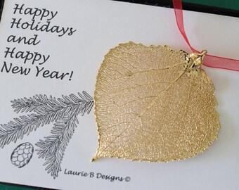 Leaf Ornament Gold, Real Aspen Leaf, Leaf Extra Large, Ornament Gift, Christmas Card, Gold Aspen Leaf, Tree Ornament, Wedding, ORNA65