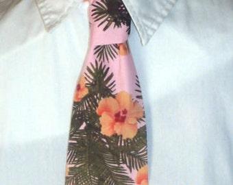 Pink Hawaiian Hibiscus Necktie