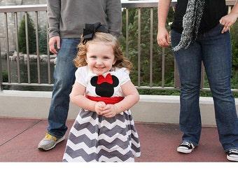 Custom Minnie Mouse Dress, Disney Dress, Girls Gray White Chevron Dress, Birthday Dress, Custom Girls Dress