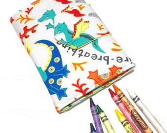 Dragon wallet, Crayon holder, Travel toys, Airplane gift, gift for kids, summer toy, Washable wallet, crayon organizer, boys wallet