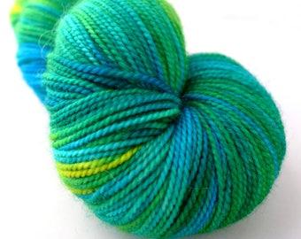 Baah! La Jolla -  Brazilian Emerald  - Aqua Blue Green Yellow Fingering Weight Hand Dyed Luxury Merino Silk Yarn