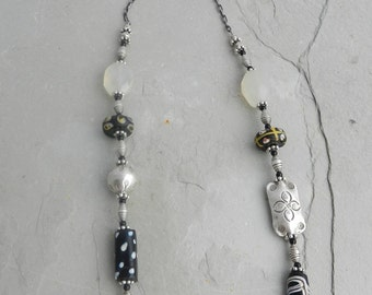Rare Venetian Antique Glass Trade Bead Mix, Chalcedony and Sterling Statement Necklace~OOAK