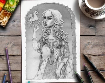 Adult Colouring Page | Unicorn Colouring Page | Grayscale | Advanced Coloring