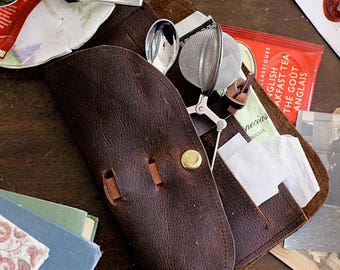 Brown Leather Steampunk Tea Wallet