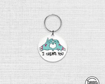 Keychain Chews You Funny Zombie Love Keychain - 2 Inch Round Acrylic Key Chain