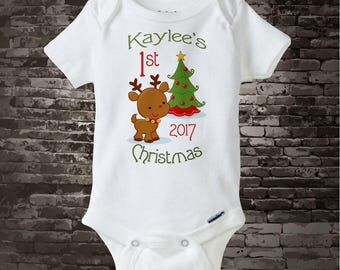 1st Christmas Outfit, My First Christmas Onesie, Personalized 1st Christmas Shirt or Onesie, Reindeer - Christmas Outfit 08222012d