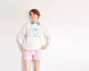 puffy heart granny sweatshirt . cottage chic rosebud wreath pullover .medium.large
