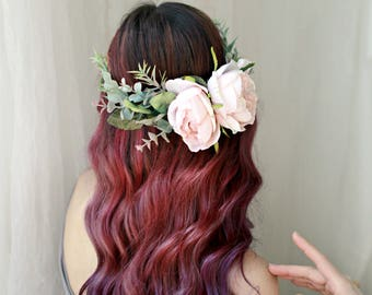 Boho wedding crown, blush flower crown, woodland floral wreath, eucalyptus flower crown, natural flower wreath, circlet, hair accessories