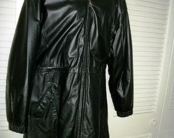 New Wilson Leather Woman's Parka Jacket  w hood sz XL  Lined Warm Fall Coat