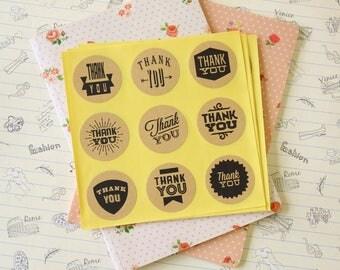 Round KRAFT Brown THANK YOU seal stickers