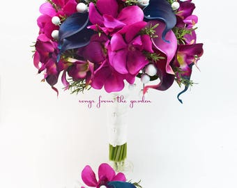 Orchids Callas Rosemary Berries - Bridal Bouquet + Groom's Boutonniere - Fuchsia, Navy and White with Greenery Accents