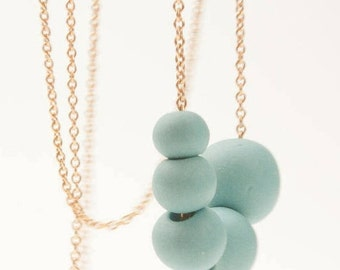 Porcelain Long Necklace Turquoise Beads and 14 ct gold filled Chain  Antalya, porcelain jewelry,ceramic necklace