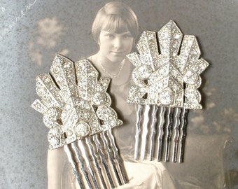 OOAK PAIR Art Deco Hair Combs, Vintage Nouveau 1920 1930s Rhinestone Bridal HeadPiece, Antique Pave Silver Wedding Dress Clips to Hairpiece