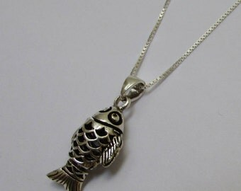 Delicate and Special Koi Fish Sterling Silver Pendant Necklace, Unisex Fish Necklace, All Chain Lengths Available, Silver Fish Charm