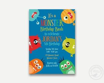 Monster Invitation, Funny Monster Printable Invitation,Little Monster Party Decor, Birthday Invite, Printable Digital 1132