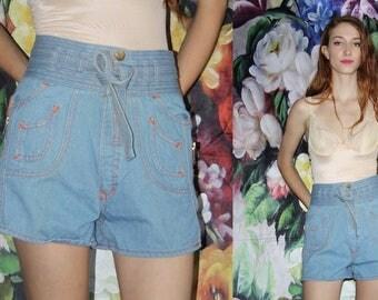 Vintage 70s High Rise Light Denim Blue Jean Shorts - 1970s High Waist Shorts - 70s Clothing - WV0450