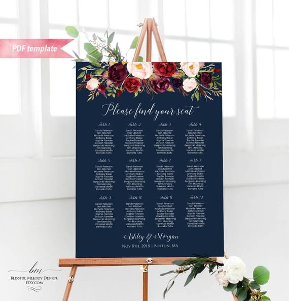 Printable Burgundy Floral Navy Blue Silver Wedding Seating Chart