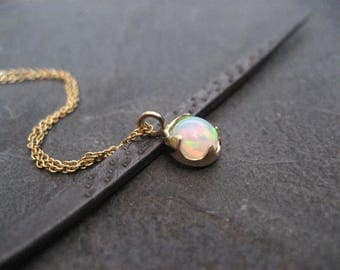 Opal necklace, Ethiopian opal, solid 14k gold, multi color, genuine welo, opal pendant, trending gemstone, October birthstone, 6 mm opal