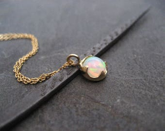 Opal necklace, 14k gold, Ethiopian opal pendant, welo opal necklace, multi color, trending gemstone, October birthstone, 6 mm round
