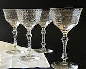 Vintage Cut Glass Champagne Glasses Crystal Champagne Coupe Glasses Libbey Rock Sharpe Cut Glass Stemware