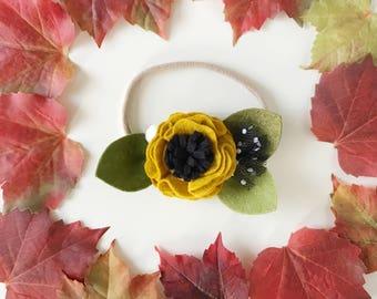 Single Flower Headband or Alligator Clip // Mustard, Fall Carnation Felt Flower