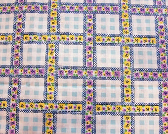 Blue Gingham Fabric Light Blue and White Gingham Yellow Purple Floral Fabric Vintage Cotton Fabric by the Yard 44 inch wide